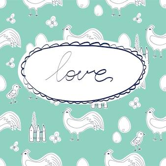 分離されたさまざまなポーズで幸せな鶏の漫画のキャラクター