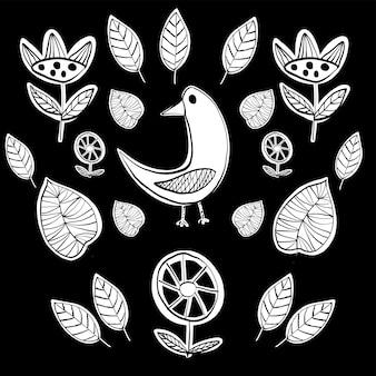 鳥とシンプルなスカンジナビアの葉