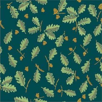 Бесшовный узор дубовый лист