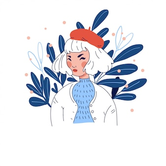 Девушка в берете на цветочном фоне