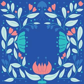 花とスカンジナビアのビンテージフォークアートパターン