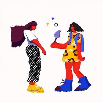 Иллюстрация девушки давая подарок девушке. концепция сестричества.