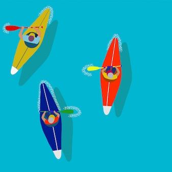 Каякинг водный спорт. плоский мультфильм иллюстрация гребли от первого лица.