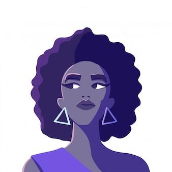 フォーマットの態度でサングラスをかけている美しいアフリカ系アメリカ人女性の肖像画