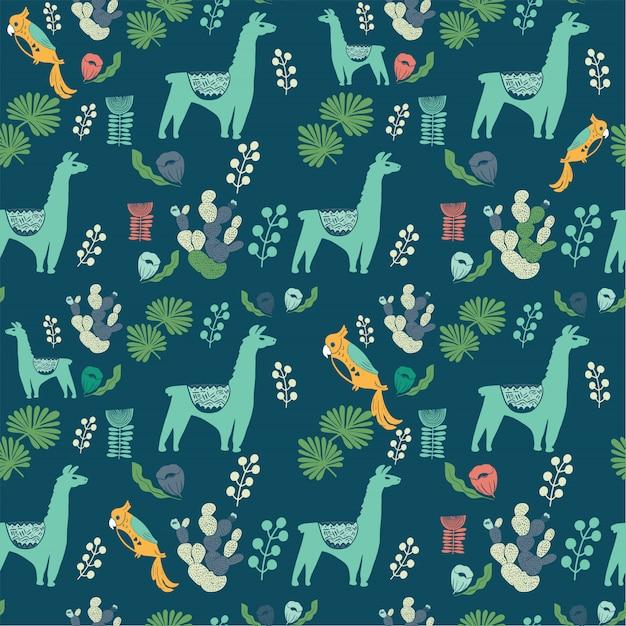 Иллюстрация с растениями ламы и кактуса.