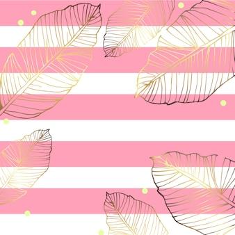 手描きトロピカルバナナゴールドの葉と縞模様のベクトル