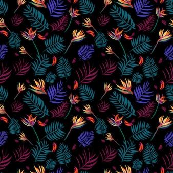 熱帯の葉の背景のシームレスパターン