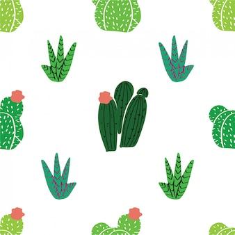 シームレスパターン、モダンなスカンディックスタイルの家の装飾。植物相で育つ多肉植物、サボテンおよび他の植物