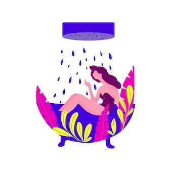 ファッションバスタブでお風呂を楽しんでいるきれいな女の子