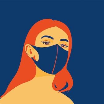 Девушка носить защитную маску иллюстрации
