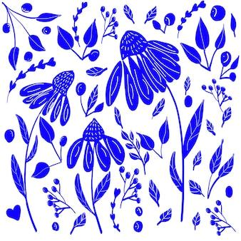 ブロックプリントスタイルの青い花
