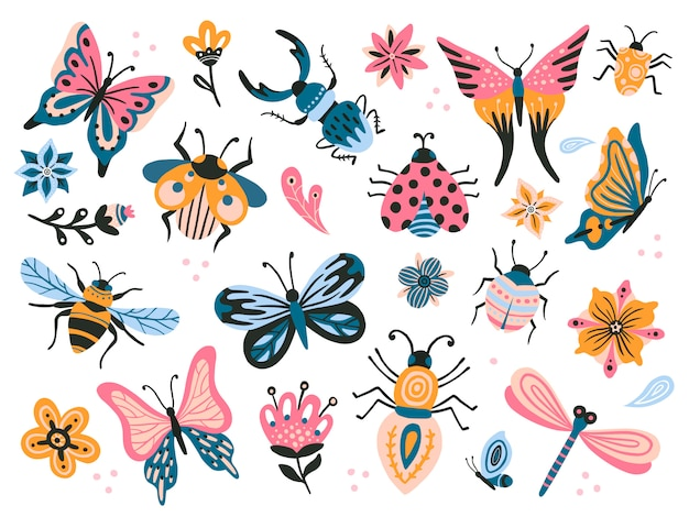 Милые жуки детский рисунок насекомых, летающих бабочек и ребенка божья коровка. набор цветочных бабочек, насекомых и жуков