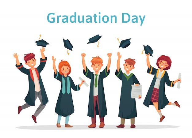 Аспиранты. выпускной день студента университета, экзамена по успеху и группы колледжа, бросающей академические иллюстрации заглавных букв
