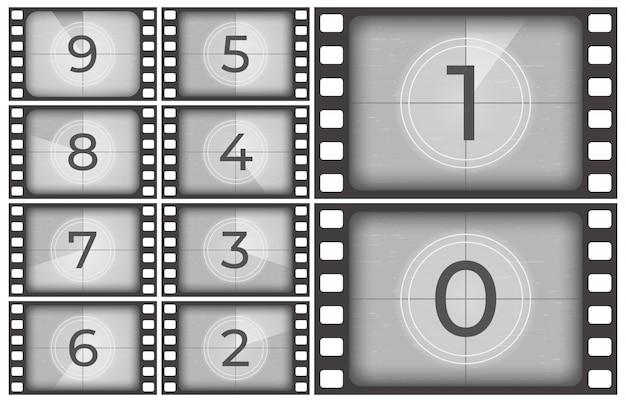 シネマフィルムのカウントダウン、古い映画フィルムストリップフレーム、ビンテージのイントロ画面カウント数またはレトロタイマーフレーム