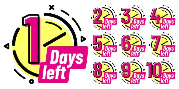 Значки «осталось дней», знак «обратный отсчет», значок «оставленный день» и метка подсчета рабочих дат
