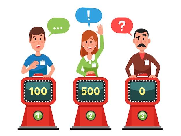 Персонажи отвечают на тестовый вопрос на интеллектуальном шоу.