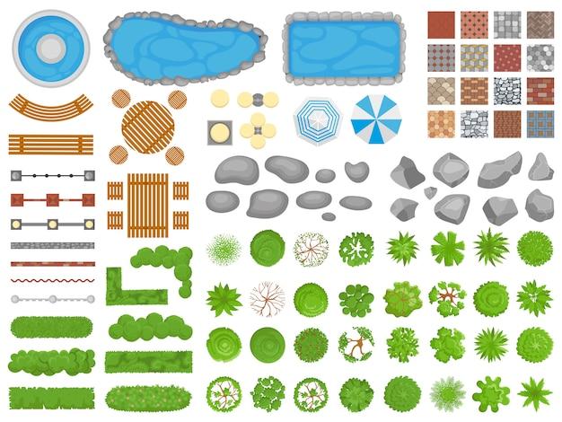 トップビューパークアイテム。庭の通路、屋外のリラックスできる公園の家具、庭の木空中分離セット