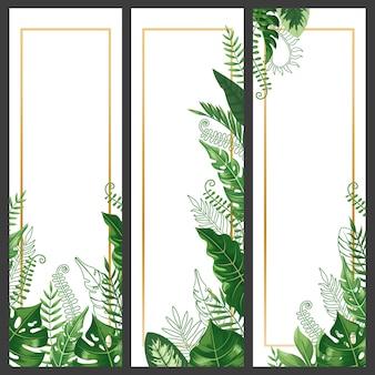 エキゾチックな葉のバナー。熱帯モンステラリーフ、ヤシの枝、ヴィンテージハワイ自然植物垂直バナーセット