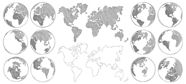 スケッチマップ。手描きの地球、分離された世界地図と地球儀のスケッチを描く