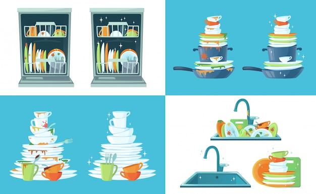 Грязное кухонное блюдо. чистые пустые блюда, тарелки в посудомоечной машине и посуду в раковине. мытье посуды мультфильм иллюстрации