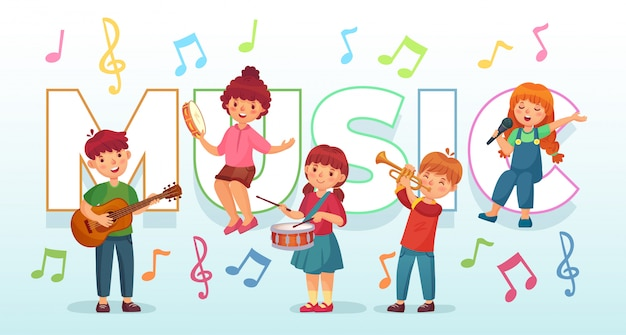 Дети играют музыку. детские музыкальные инструменты, музыканты детского оркестра и танцевальная иллюстрация
