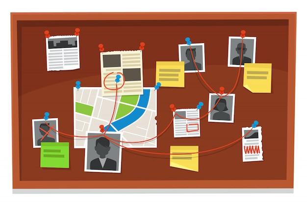 探偵ボード。犯罪証拠の接続チャート、ピン留めされた新聞、警察の写真。調査証拠の図