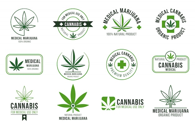 Метка каннабиса. лечебная марихуана, легальное конопляное растение и лекарственные растения. курение травки значки изолированные набор