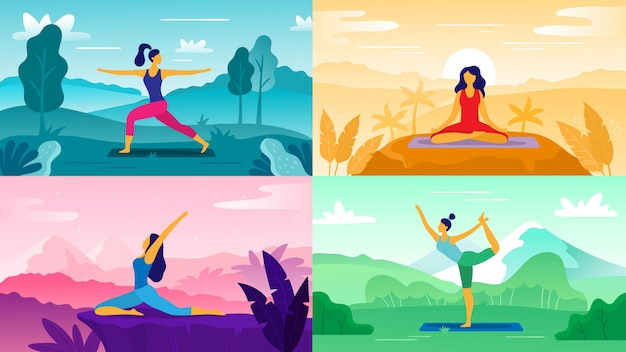 自然のヨガの練習。屋外でのエクササイズ、ヘルスケアフィットネス、健康的なライフスタイルをリラックスしてください。ヨガのポーズフラットイラストセット