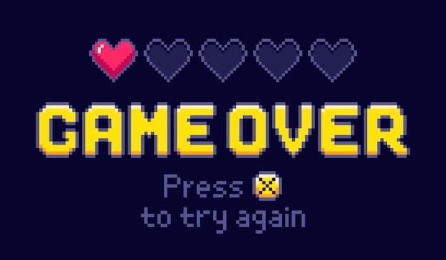 ゲームオーバー画面。ピクセルレトロゲーム、ゲーム最後の人生の図をもう一度試してください