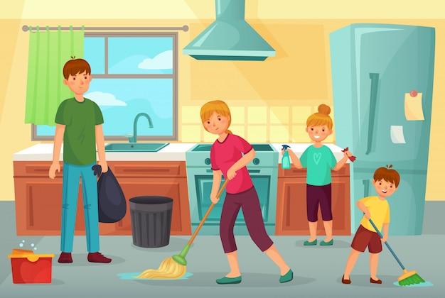 Семейная уборка кухни. отец, мать и дети вместе чистят кухню бытовой пылесосом и вытирают пол карикатурой иллюстрации