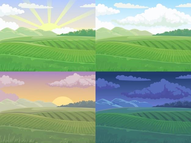 夏の畑。緑の丘、昼間のフィールドの風景と春の丘漫画イラスト背景