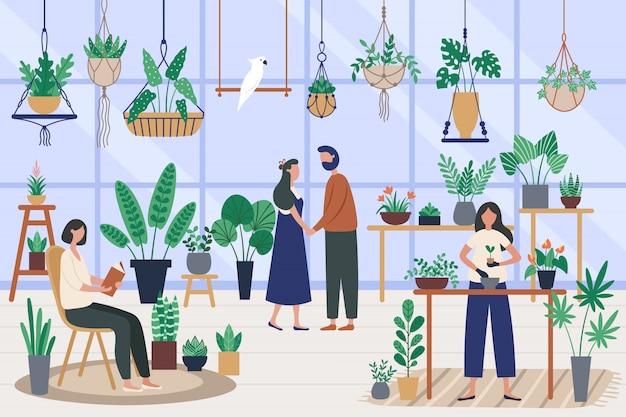 Ботаническая оранжерея. посадка комнатных растений, выращивание растений и посадка хобби. друзья проводят время на оранжерее иллюстрации