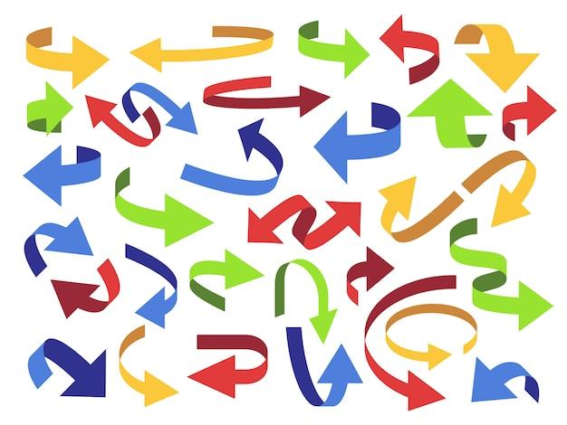 リボンの矢印。矢印、カラフルなポインター、開いているアイコンを反転します。湾曲したテープ矢印記号セット
