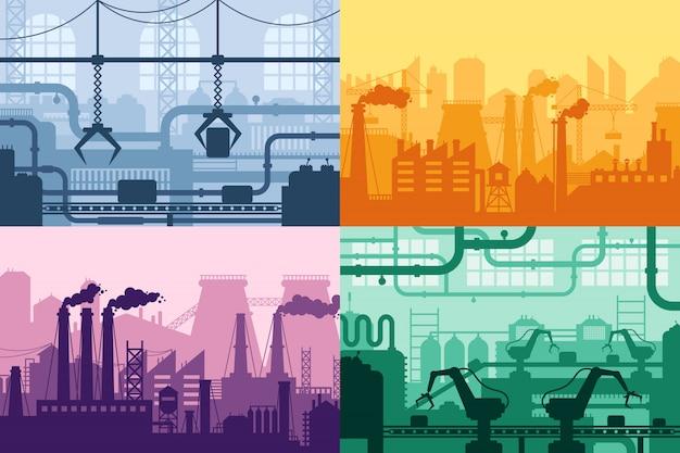 産業工場のシルエット。製造業のインテリア、製造プロセス、工場のマシンの背景セット