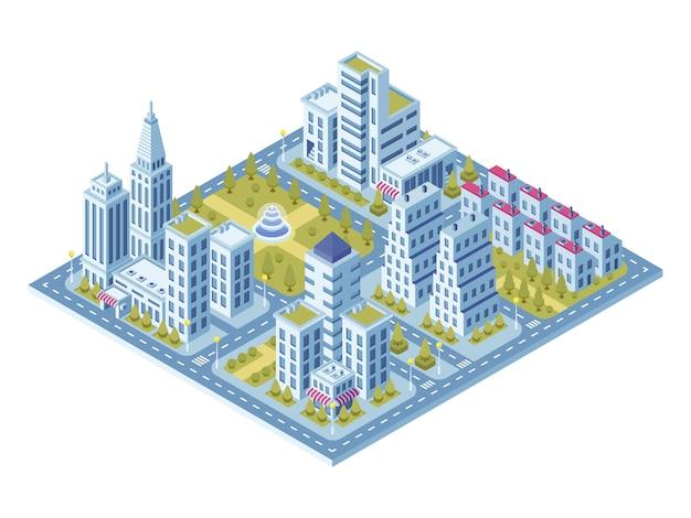 Современные городские здания, полицейский участок, дорога с автомобилями и супермаркет, здание музея.