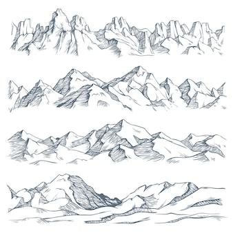 Горы, пейзажная гравюра. старинные рисованной эскиз походов или восхождений на гору. иллюстрация горной местности природы