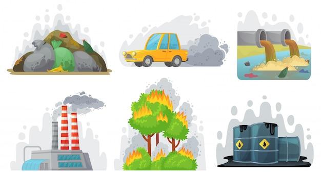 Загрязнение окружающей среды. загрязненный воздух, промышленные радиоактивные отходы и набор иллюстраций экологической осведомленности
