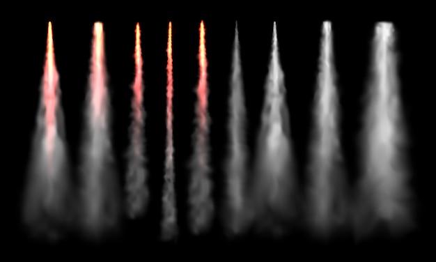 ロケットトラック。宇宙ロケット発射の煙、飛行機のジェット機の追跡、航空機の煙の雲の現実的なセット