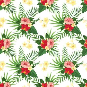 熱帯の花のシームレスなパターン。夏の熱帯の花、野生植物の葉、熱帯の花のパーティーの背景