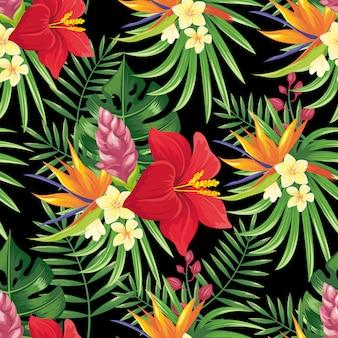 熱帯雨林の花のシームレスなパターン。熱帯の花の葉、熱帯のジャングルの植物、エキゾチックな花の枝の背景