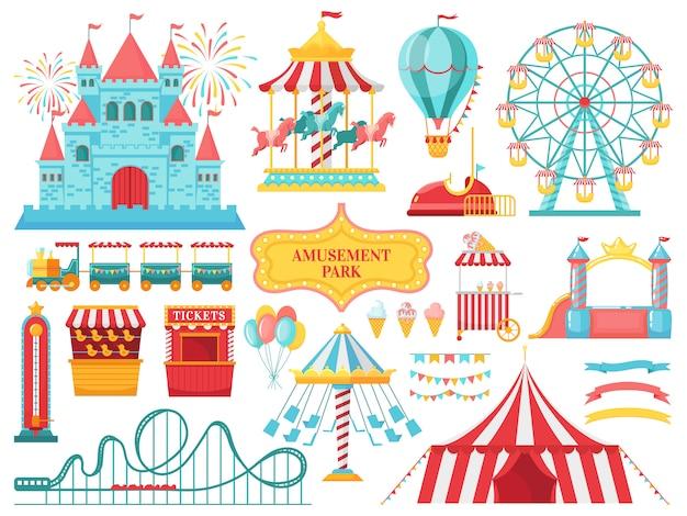 遊園地のアトラクション。カーニバルの子供カルーセル、観覧車の魅力、面白い遊園地のエンターテイメントイラスト