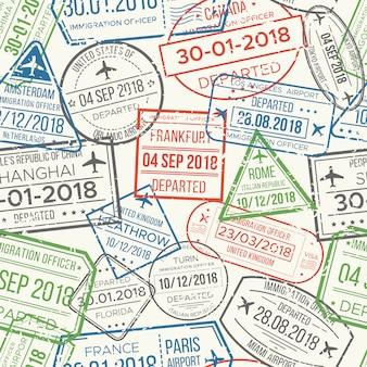 旅行ビザ空港切手シームレスパターン。