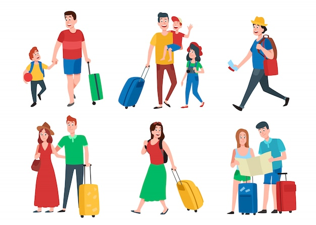 Семейный отдых. счастливые туристические каникулы отпуска, пара путешествий и набор группы шаржа туристов