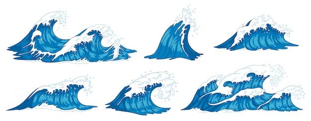 海の波。荒れ狂う海の水の波、ヴィンテージ嵐の波、波紋の潮の手描きイラスト