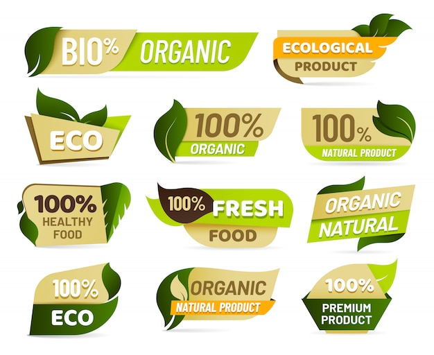 ビーガンエンブレム。新鮮な自然製品のバッジ、健康的なベジタリアン食品のステッカー、自然生態食品ラベルセット
