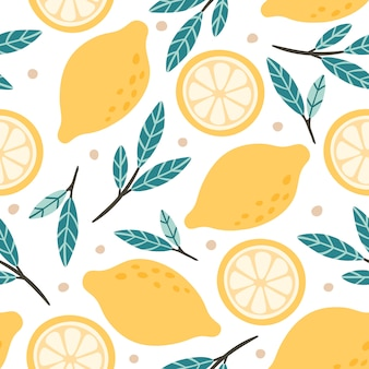 シームレスなレモンパターン。手描き落書きの柑橘類のミックス、レモンスライス、緑の葉の背景イラスト