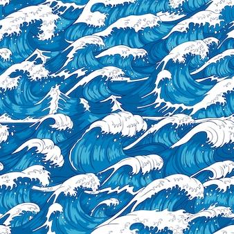 嵐の波のシームレスなパターン。荒れ狂う海の水、海の波、ヴィンテージ日本の嵐印刷イラスト背景