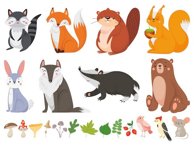 面白い木の動物。野生の森の動物、幸せな森のキツネ、かわいいリスの漫画イラストセット