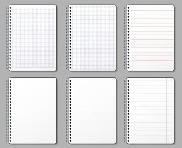 ノートページ。罫線と点線のページ、金属スパイラルにバインドされたノートブックとパッド入りシートモックアップテンプレートイラストセット