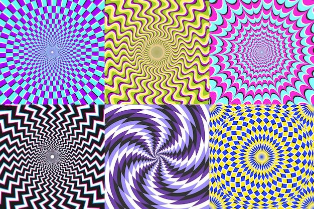 Психоделическая спираль. оптическая иллюзия, иллюзии спирали и красочные абстракции гипноз спираль векторная иллюстрация набор